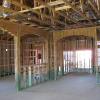 Living Room of Ryland's Rembrandt Floorplan in Lakeway Texas at the Framing Stage