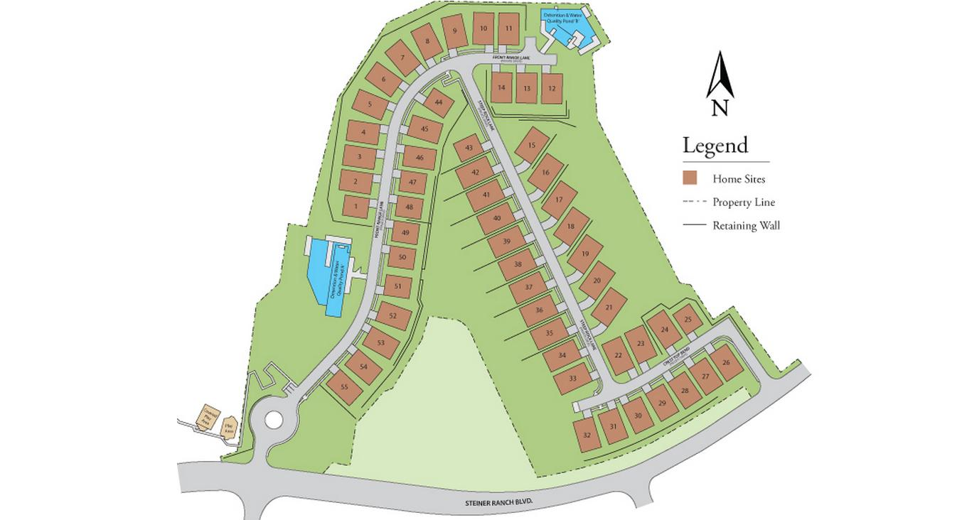 Lakeview at Steiner Ranch - Map of Available Home Sites