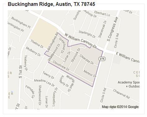 Map of Buckingham Ridge, Austin TX 78745